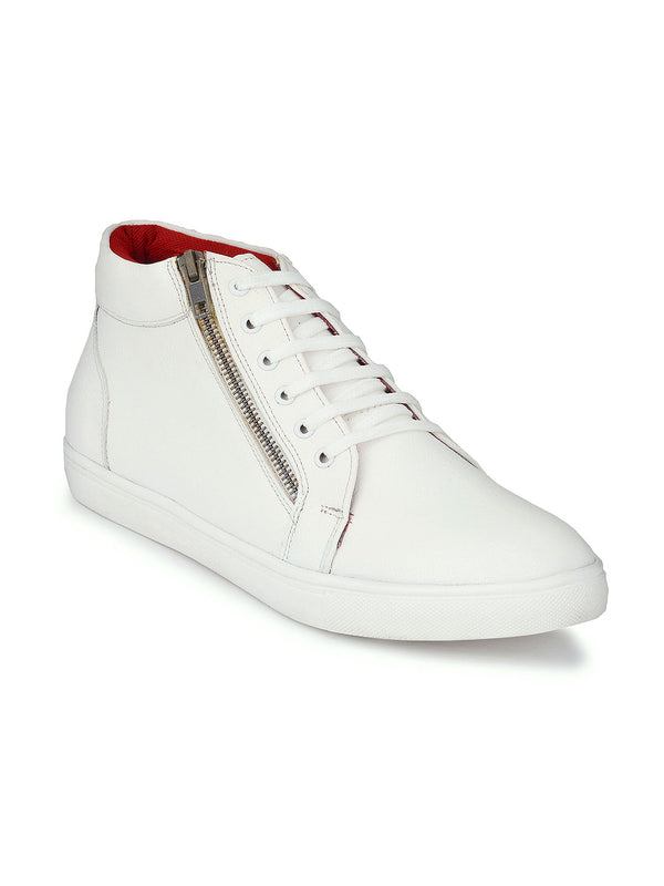 White High Ankle Zipped Sneakers