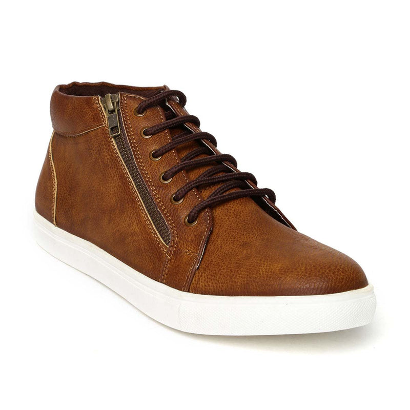 Tan High Ankle Zipped Sneakers