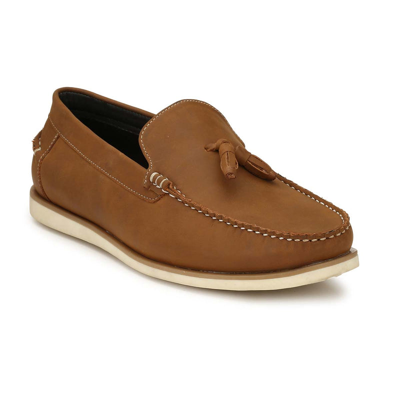 San Frissco Tan Casual Tassel Driving Shoe For Mens