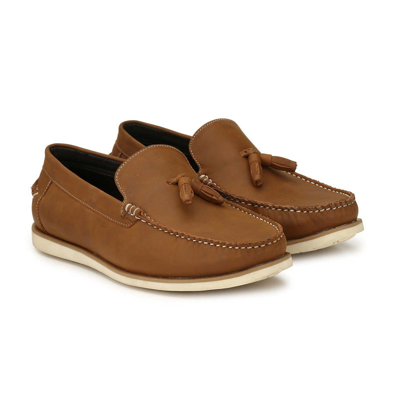 San Frissco Tan Casual Tassel Driving Shoe For Men