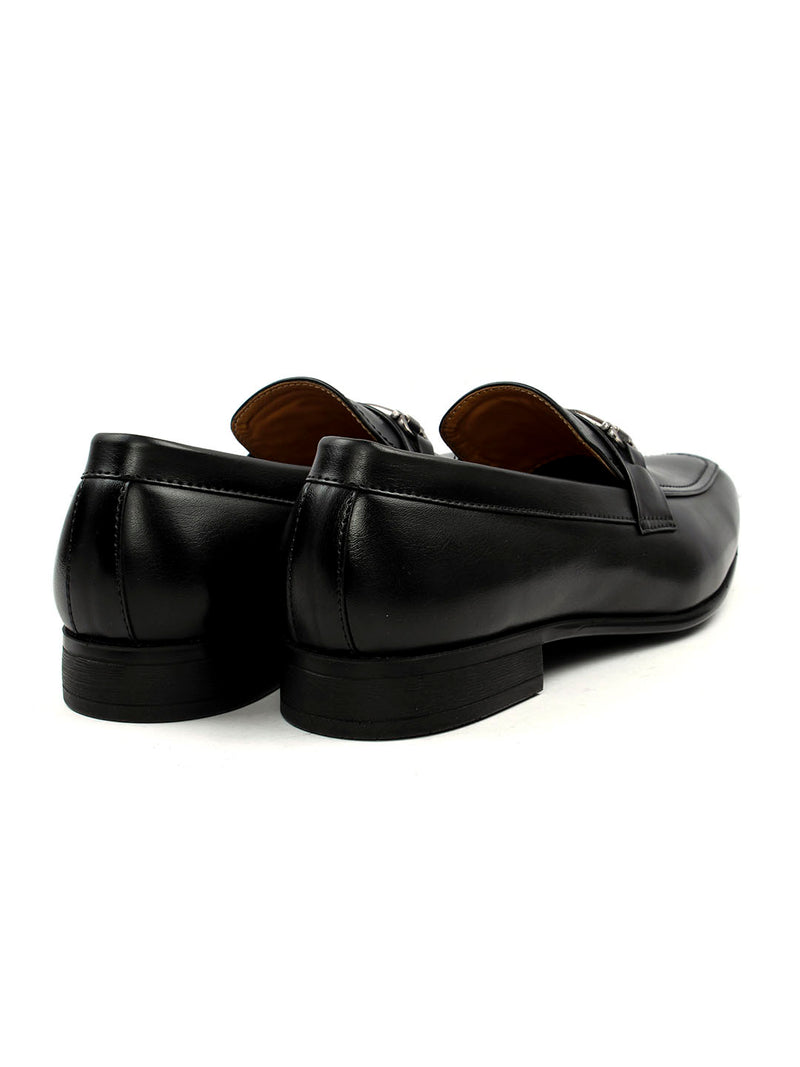 Square Toe Black Moccasin With Buckle