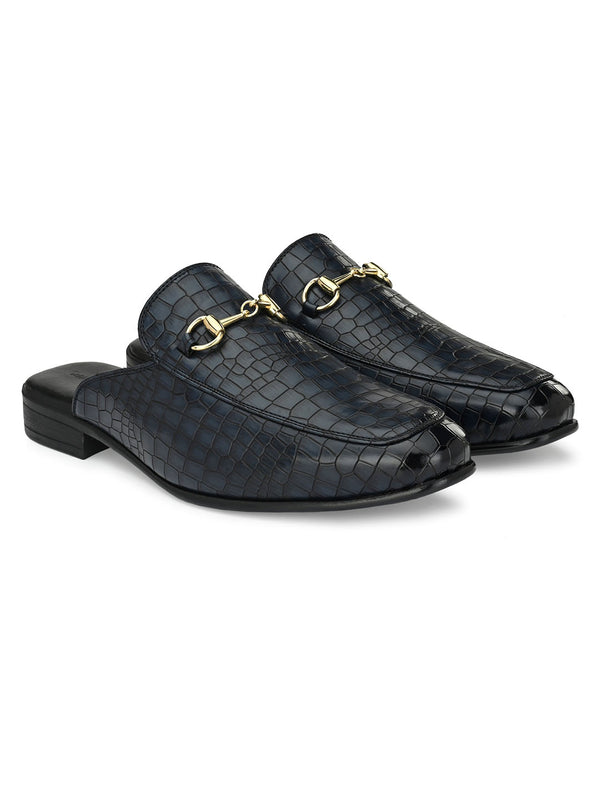 Midnight Blue Croco Horsebit Mules