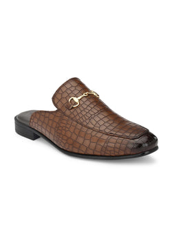 Tan Croco Horsebit Mules