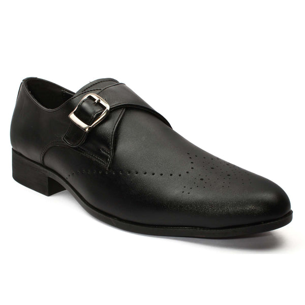 Black Monk Strap Semi-Brogues