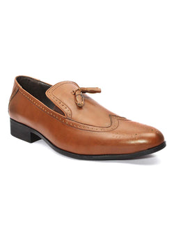 Tan Brogues Tassel Loafers