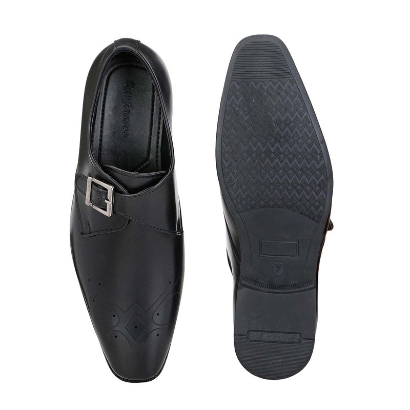 Black Monk-Strap Punched Shoes