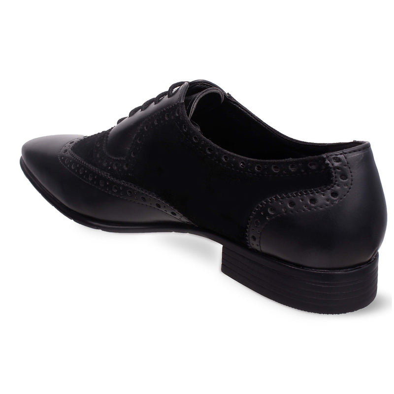 Black Wing-toe Suede Combination Brogues