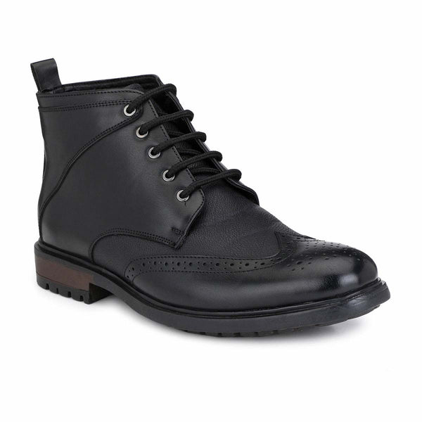 SF Black Brogue Lace Up Boots
