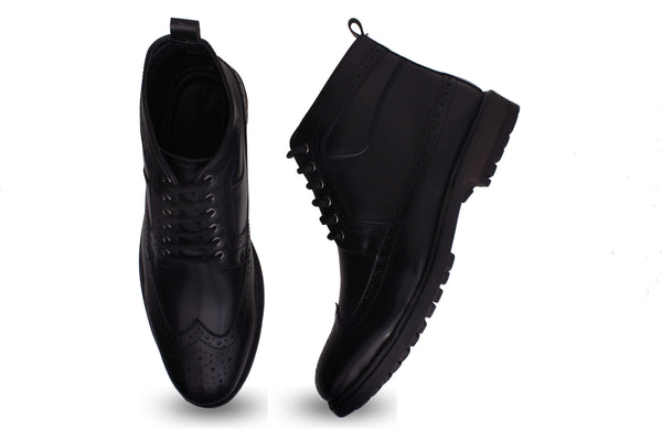 Black Sturdy Lace Up Boots