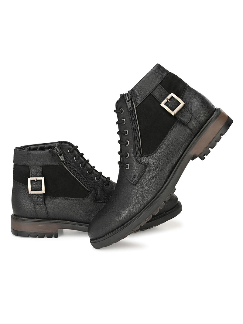 Black Zipped Derby Boots