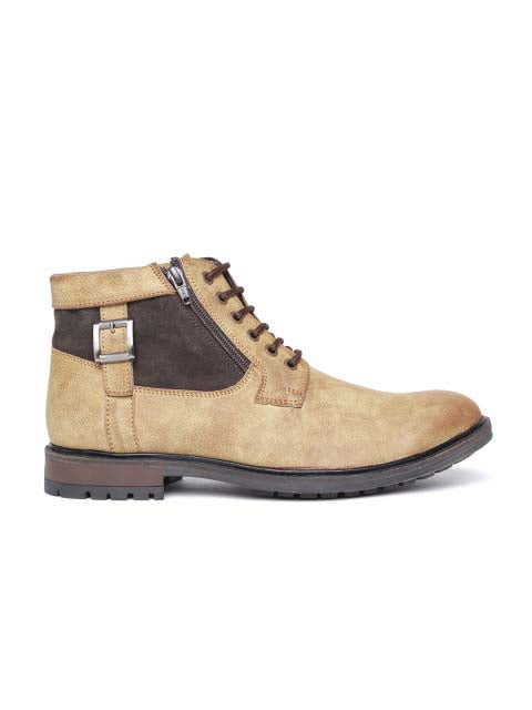 Tan Zipped Derby Boots