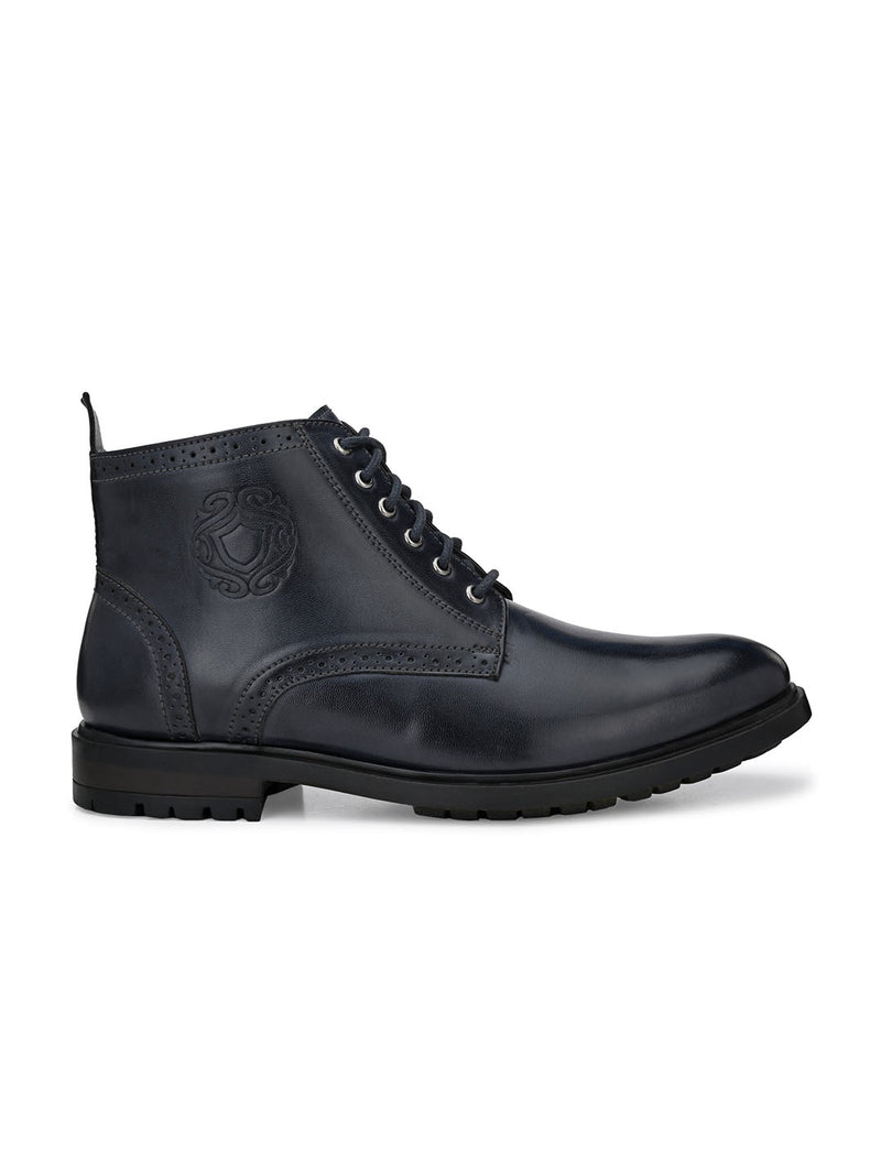 Cavalry Blue Lace-Up Boots