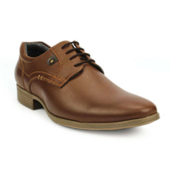Tan Stitched Derby Casual Shoes