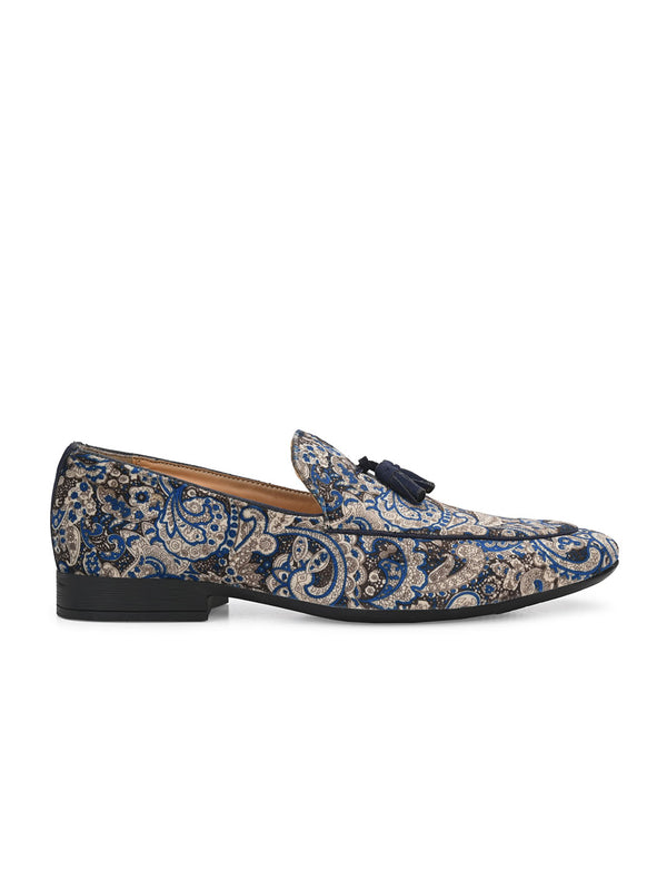 Royal Blue Paisley Tassel Loafers