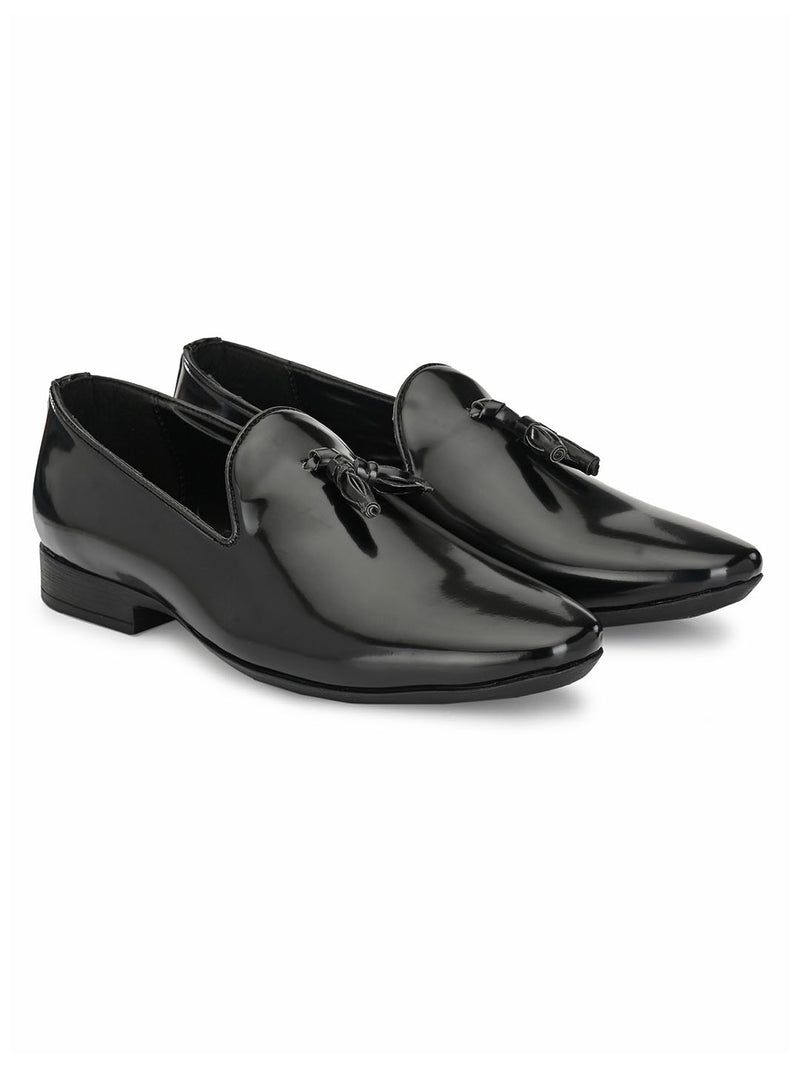 Archie Black Patent Tassel Loafers