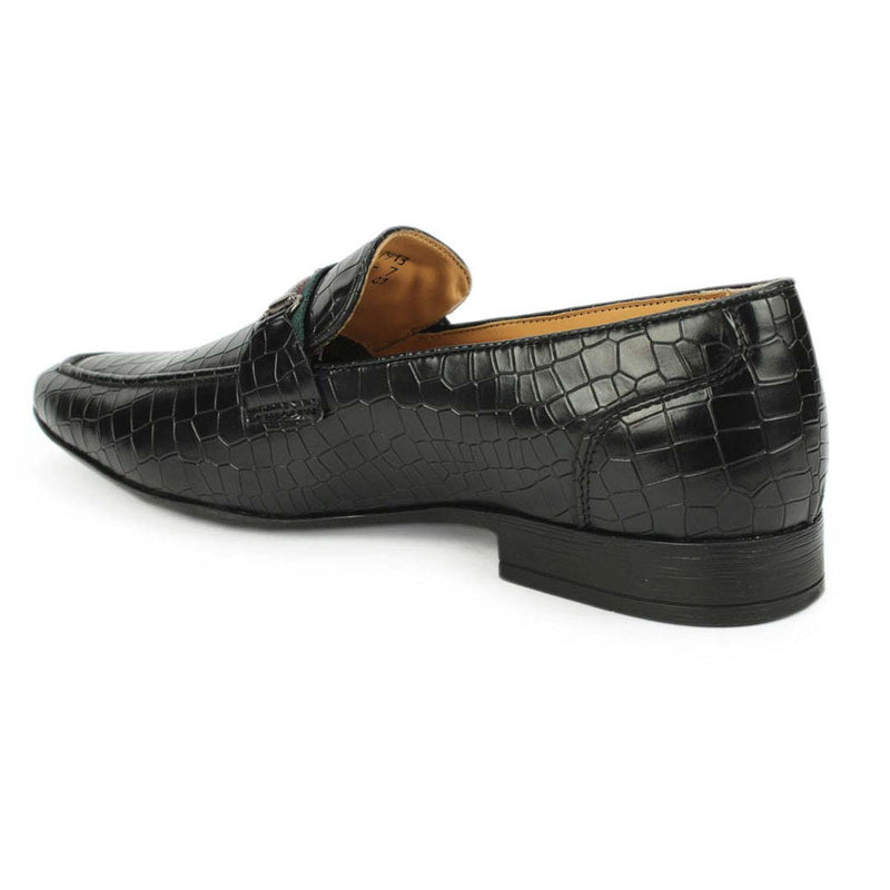 Black Croco Horsebit Loafers