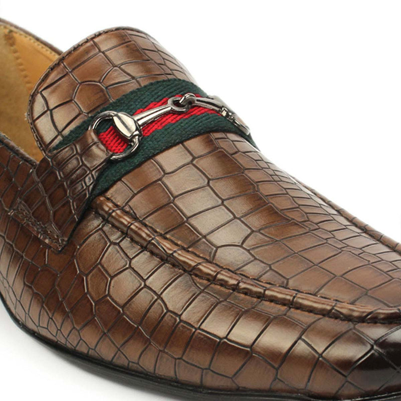 Tan Croco Buckle Loafers