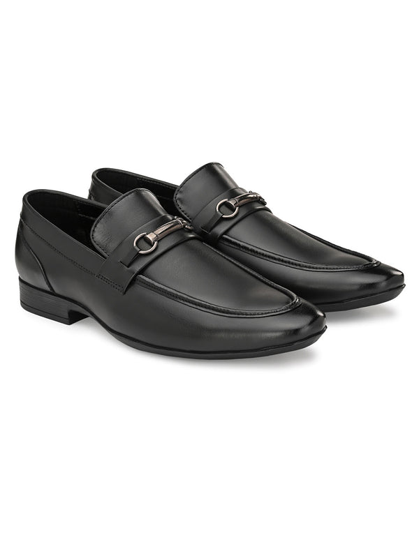 Avion Black Slip-ons with Buckle