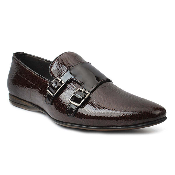 Brown Patent Double Monk Loafers