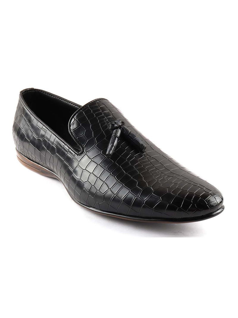 Black Croco Tassel Loafers