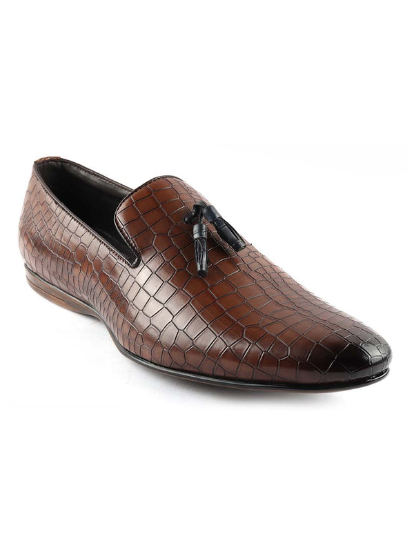 Tan Croco Tassel Loafers
