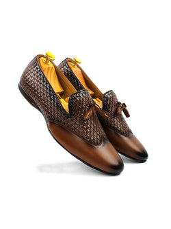 Tan Two-Tone Chatai Tassel Loafers