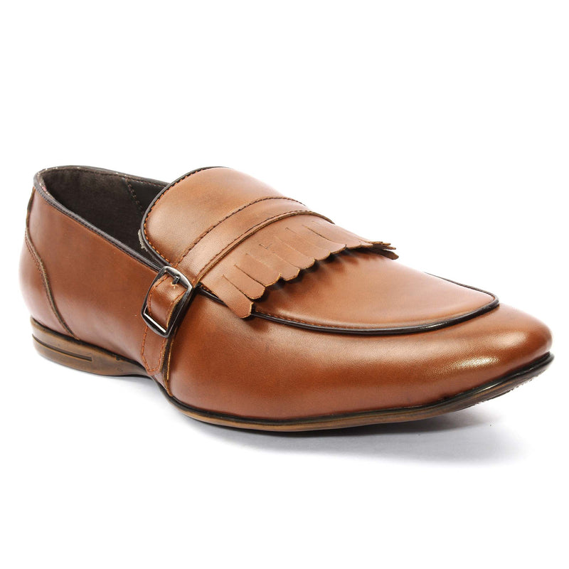 Tan Monk Strap Feather Loafers