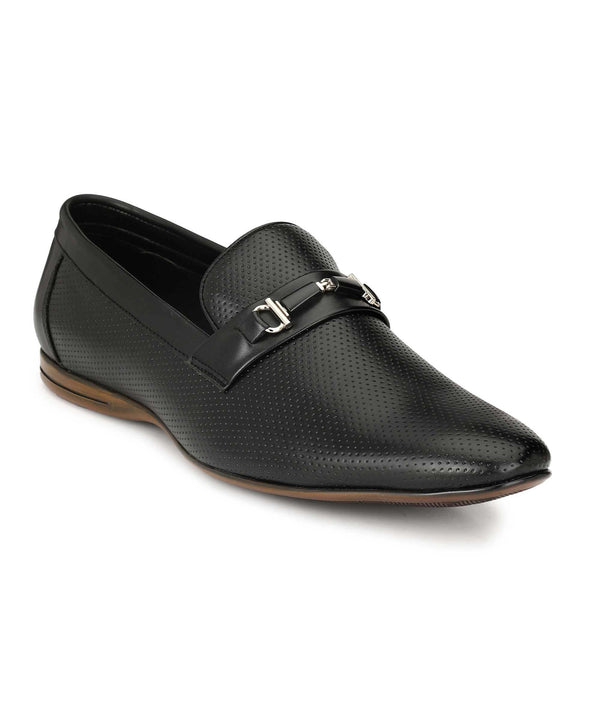 Black Two-Tone Buckle Loafers