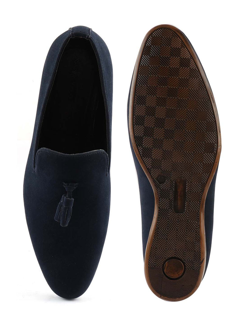 Blue Suede Tassel Loafers