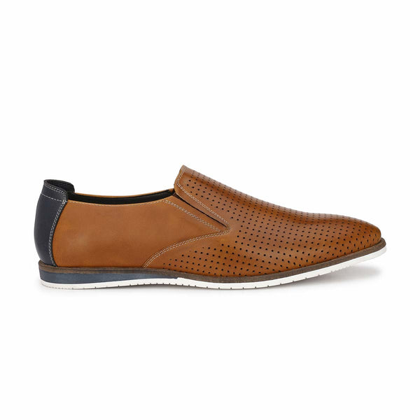 Tan Punched Slip-on Sneakers