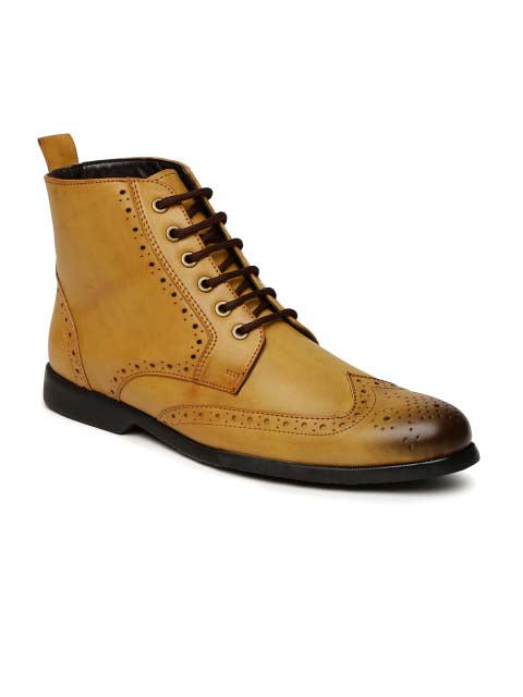 Tan Brogue Lace-ups Boots