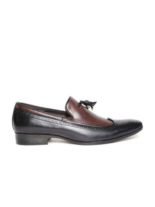 Black Casual Slip-Ons with Tussel