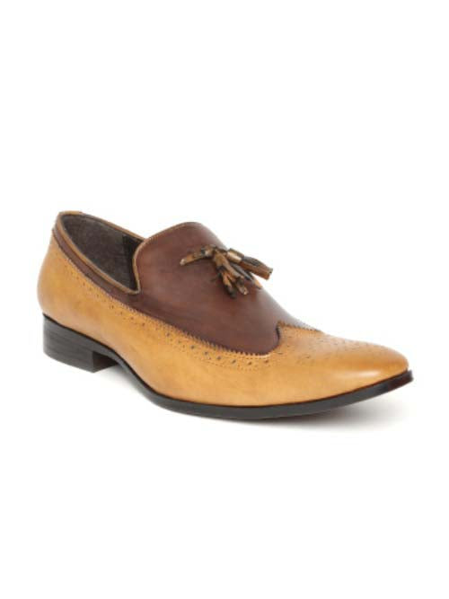 Tan Casual Slip-Ons with Tussel