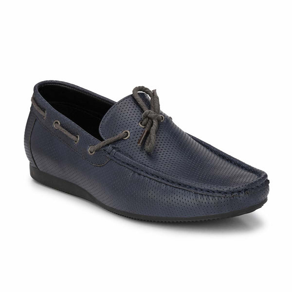 Blue Casual Contrast Bow Loafers
