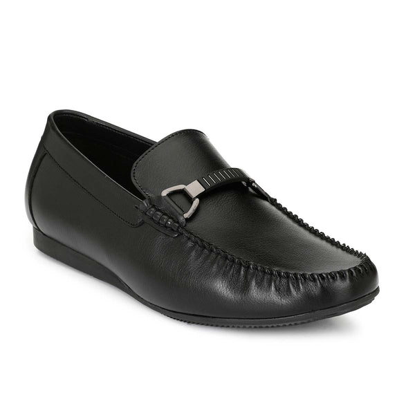 Black Stylish Buckle Loafers