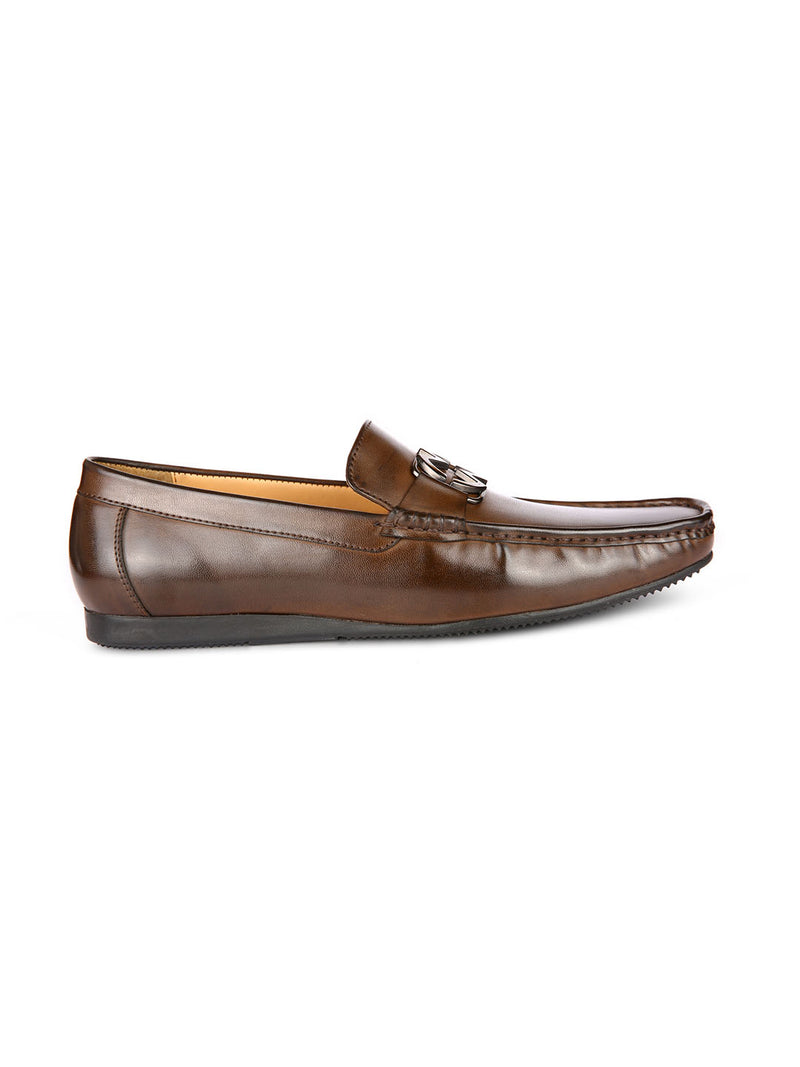 Bracket Buckled Brown Loafers