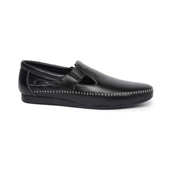Black Casual Loafers With Contrast Stitching