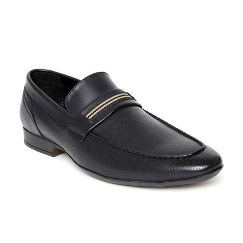 Black Punched Formal Loafers