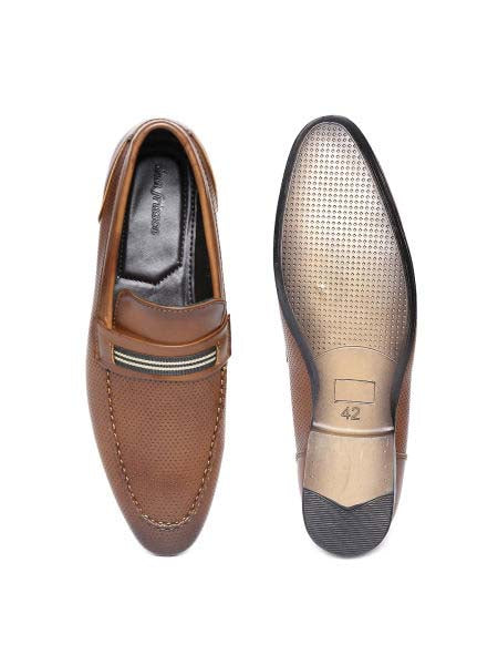 Cognac Punched Formal Loafers