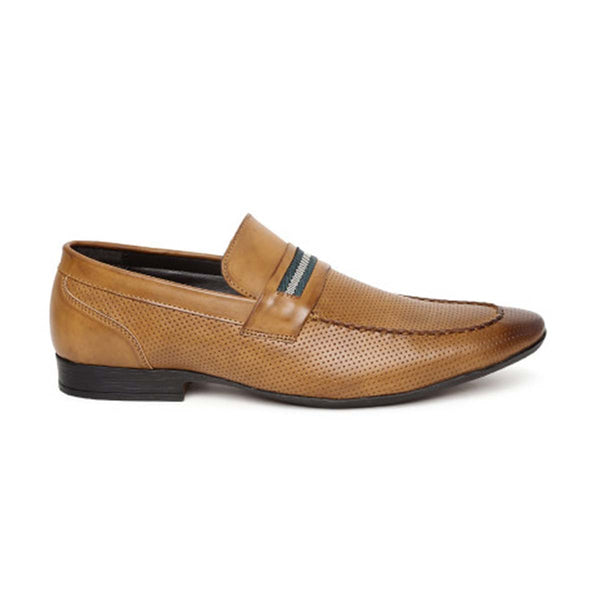 Tan Punched Formal Loafers