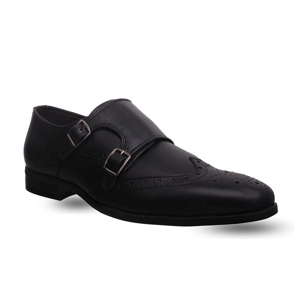 Black Double Monk Brogues