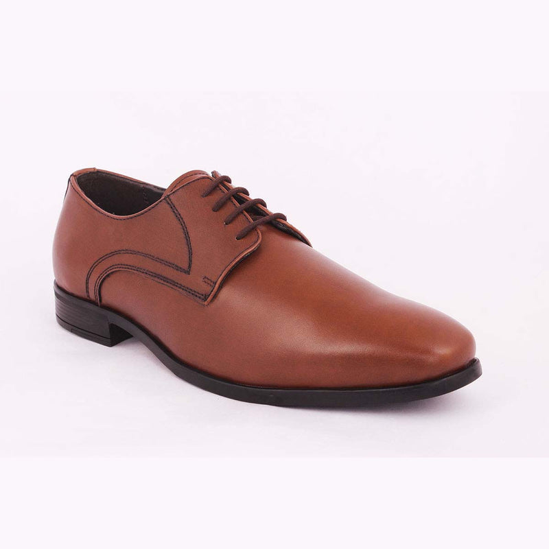 Tan Patent Derby Shoes