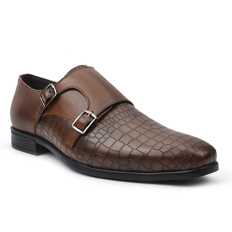 Tan Double Monk Croco Formals
