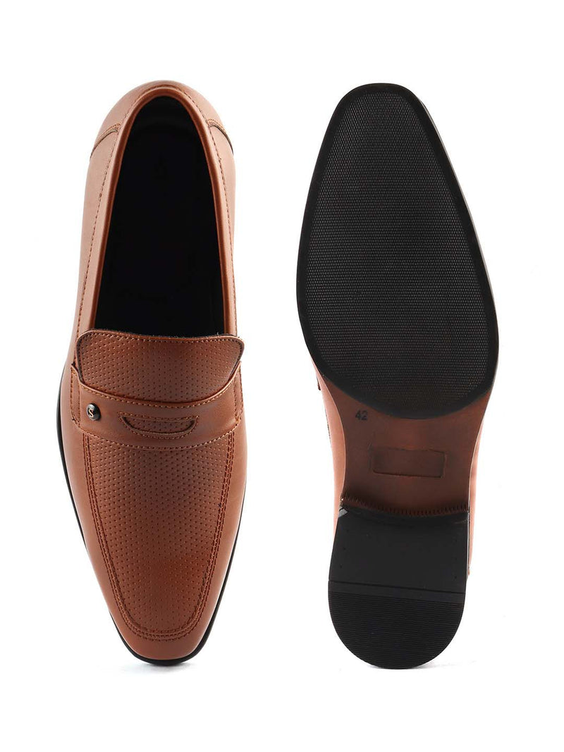 Tan Punched Slip-ons