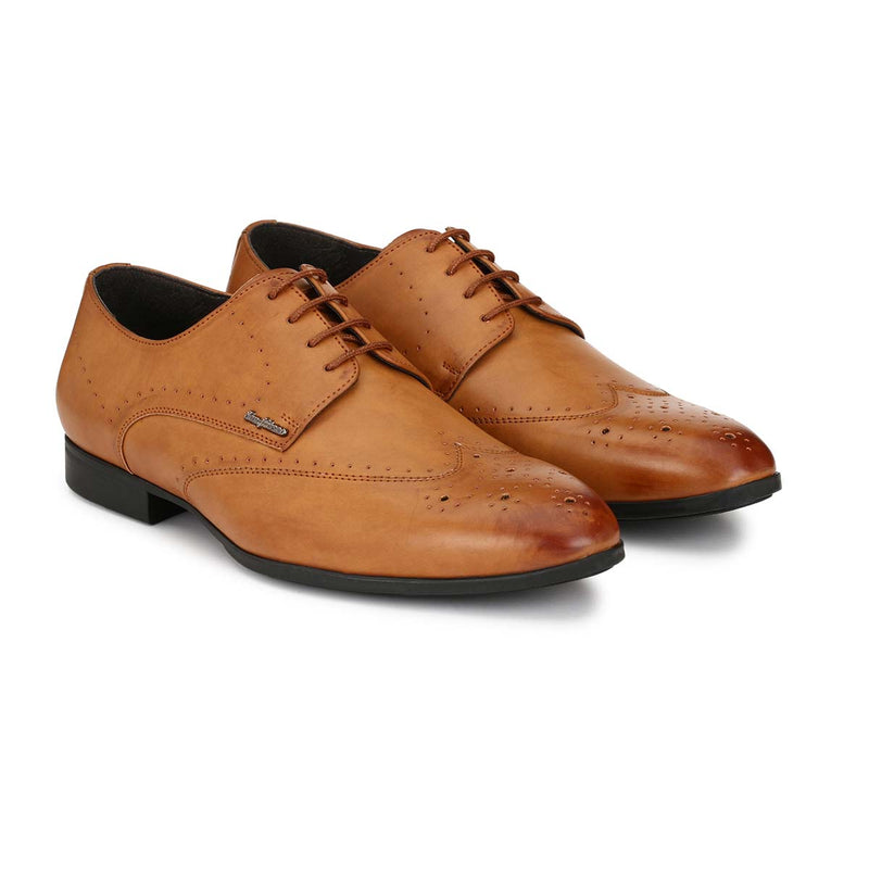 Tan Semi-Brogue Lace-ups
