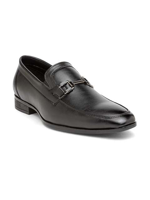Black Formal Two -Tone Buckle Slip-Ons