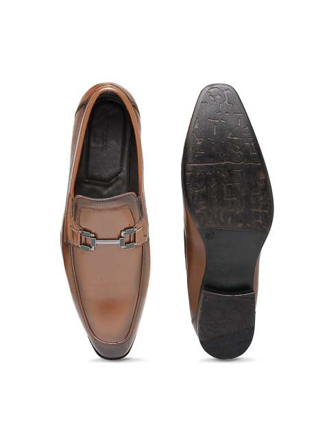Tan Formal Two-Tone Buckle Slip-On