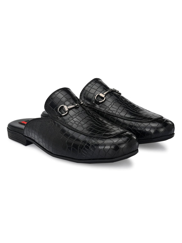Black Croco Horsebit Mules