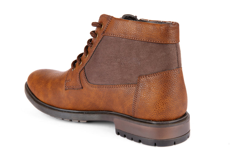 Brown Zipped Derby Boots