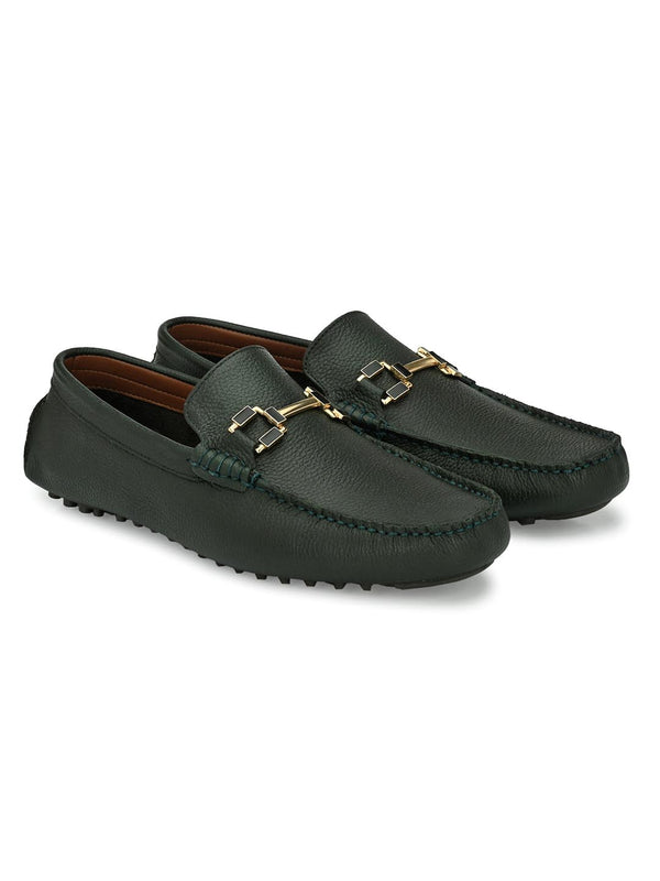 Bingo Green Loafers with Buckle